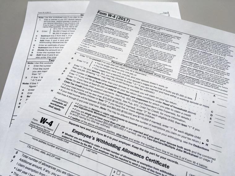 Image: IRS W-4 form