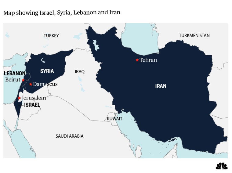 Map showing Israel, Syria, Lebanon and Iran