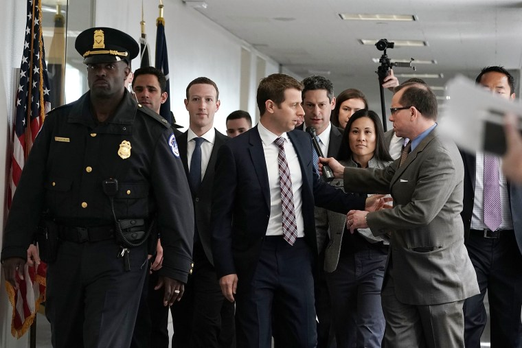 Image: Mark Zuckerberg arrives at a meeting with U.S. Sen. Bill Nelson