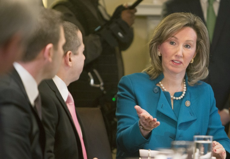Image: Rep. Barbara Comstock, Republican from Virginia, participates in a law enforcement round table at the White House
