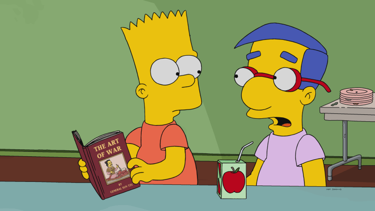 "Bart Simpson and Milhouse Van Houten in the episode ""No Good Read Goes Unpunished."""
