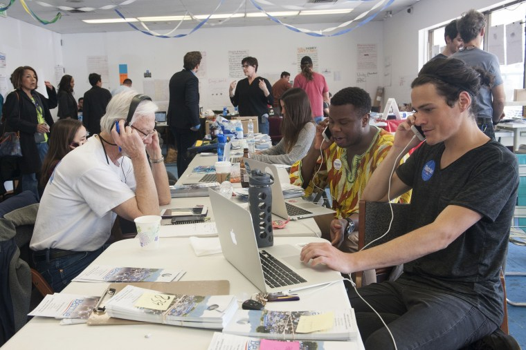 Image: Campaign staffers work at Democratic presidential candidate Senator Bernie Sanders campaign headquarters