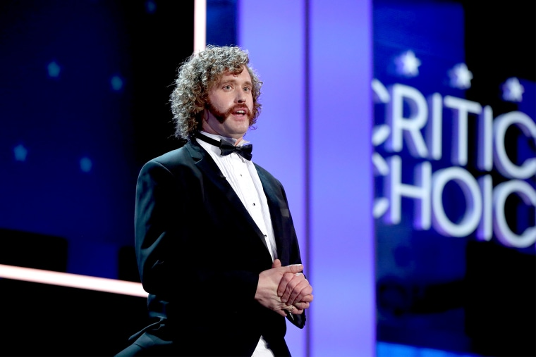 Image: Host T.J. Miller performs during The 22nd Annual Critics' Choice Awards at Barker Hangar on Dec. 11, 2016 in Santa Monica, California.