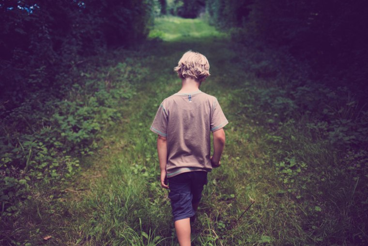 Image: A boy walks on a path through the woods