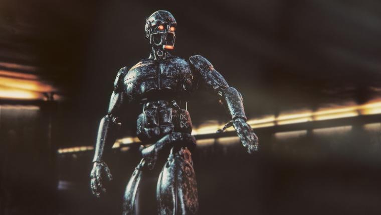 Image: Futuristic military cyborg surveillance on the street