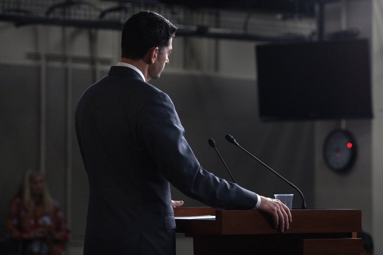 Image: House Speaker Paul Ryan (R-Wis.) speaks at a news conference on Capitol Hill on March 22, 2018.
