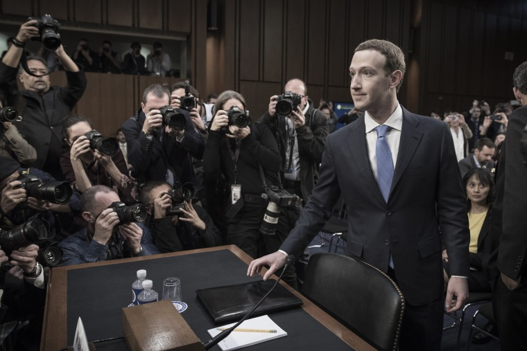 Image: Mark Zuckerberg appears before a Senate hearing