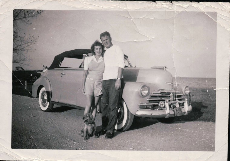 Caroline and Ed Mayer traveling in West Virginia in 1950.
