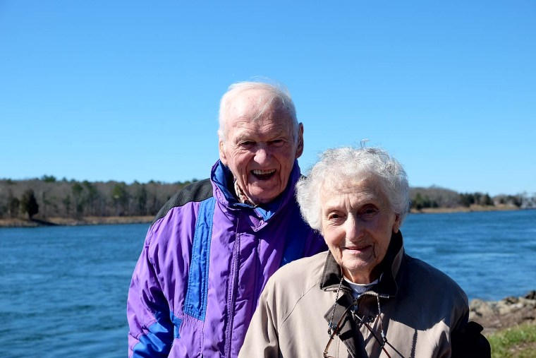 Caroline Mayer, with her husband, Ed, visits the Cape Cod Canal earlier this year.