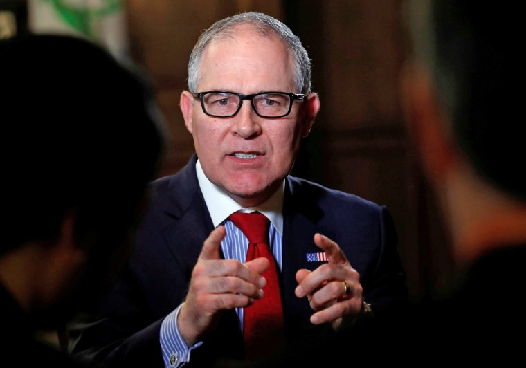 Image: Scott Pruitt speaks during an interview with Reuters in Washington