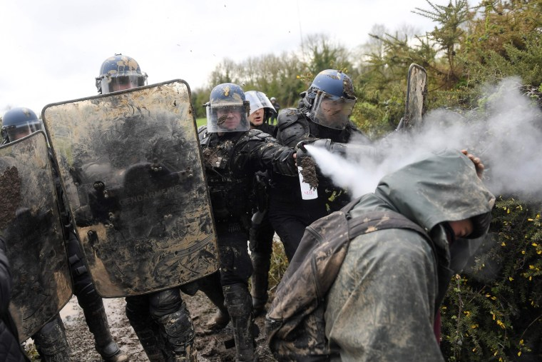 Image: French police clash with protesters
