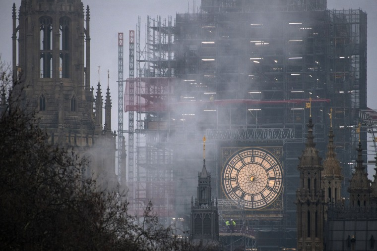 Image: Big Ben is seen without its hour and minute hands