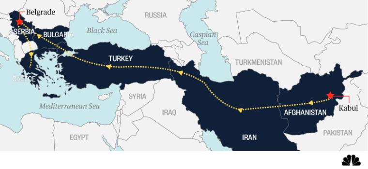 Image: Migrants journey