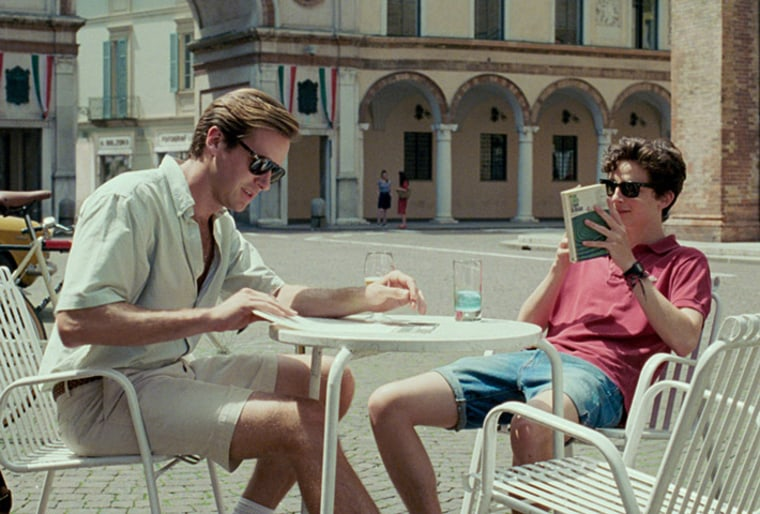 Image: Elio Perlman (Timothee Chalamet), a 17-year-old living in Italy, and his father's 24-year-old American assistant, Oliver (Armie Hammer) in the movie Call Me By Your Name.