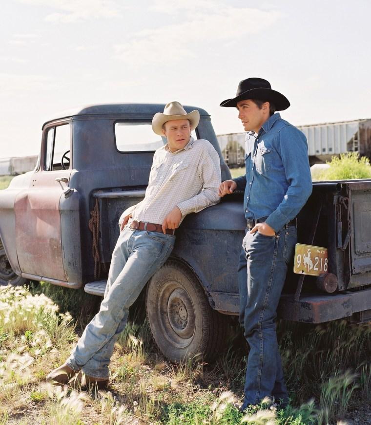 "Image: Heath Ledger, left, and Jake Gyllenhaal in Ang Lees ""Brokeback Mountain."""