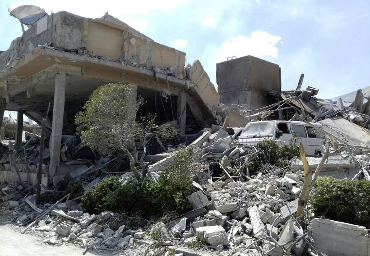 Image: Damage to the Syrian Scientific Research Center after it was attacked by U.S., British and French military strikes to punish Syrian President Bashar Assad for suspected chemical attack against civilians, in Barzeh, near Damascus, Syria, on April 14