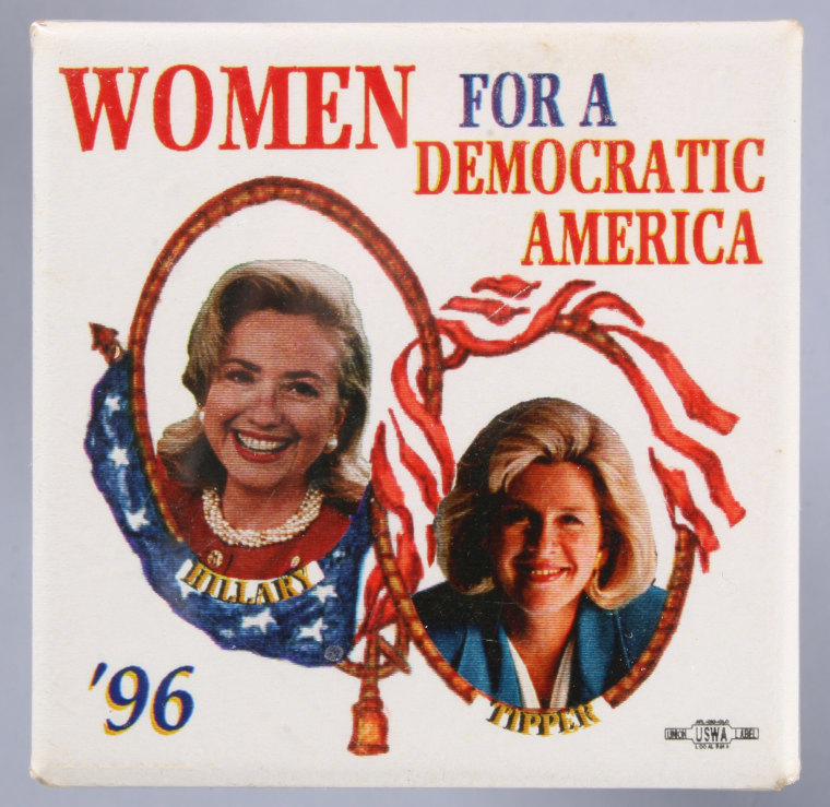A 1996 United States presidential campaign button pin showing First Lady Hillary Rodham Clinton and Tipper Gore