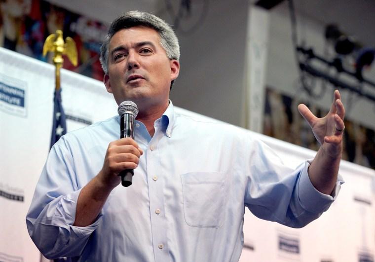 Image: Senator Cory Gardner speaks at a town hall meeting in Lakewood