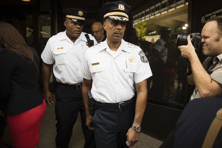 In this July 21, 2017, photo, Philadelphia Police Commissioner Richard Ross departs after speaking with members of the media and listening to Attorney General Jeff Sessions' speech at the U.S. Attorney's Office in Philadelphia.
