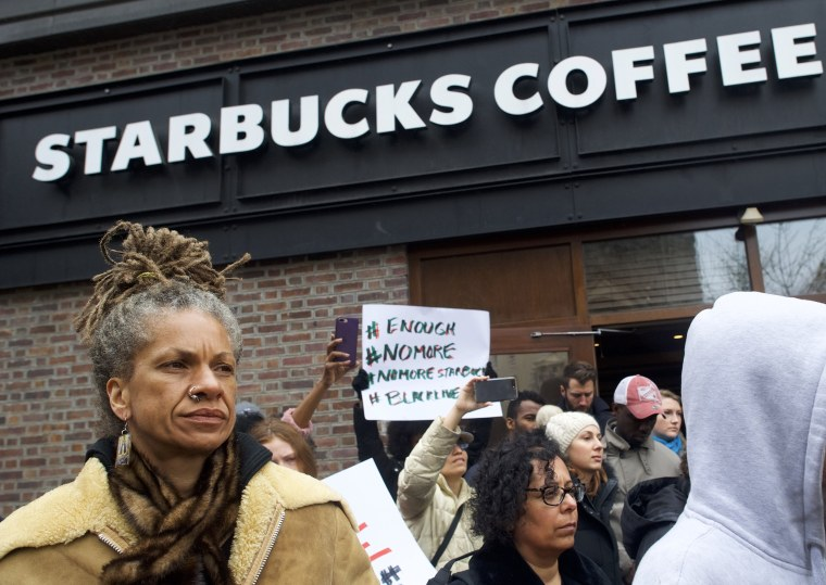 Image: Protesters demonstrate outside a Center City Starbucks in Philadelphia