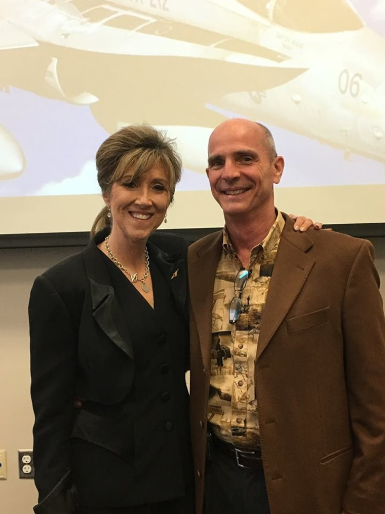 "Southwest Airlines pilot Tammie Jo Shults, left, was called ""a true American hero"" by one of her passengers."