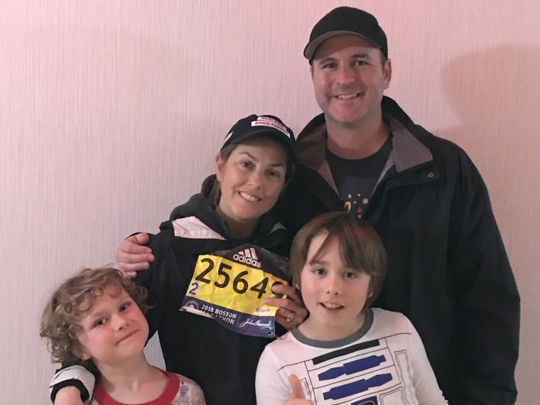 Shertenlieb with her husband and their two children before the couple returned to the marathon course around 8 pm Monday.