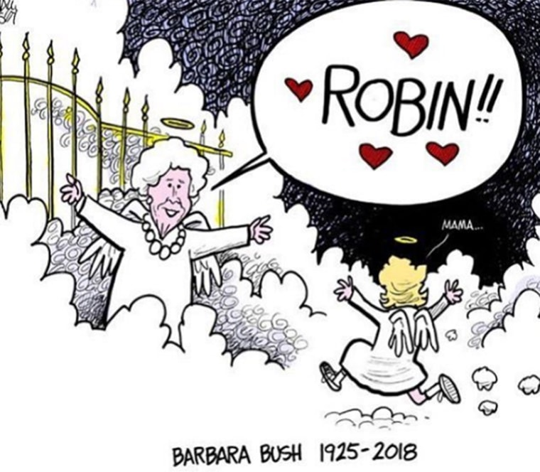 Cartoon showing Barbara Bush reunited in heaven with daughter, Robin