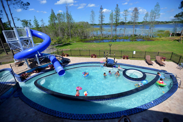 Enjoy the outdoors in the rental's giant pool and kick back and float in the pool's lazy river.