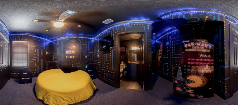 Sleep in a PacMan-themed room, or play the original game if you aren't tired.