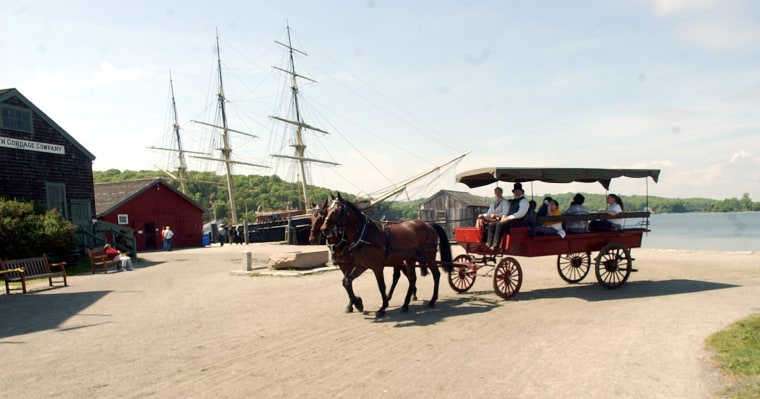 Visit the Mystic Seaport Museum, where the whole family can tour the grounds by horse-drawn wagon.