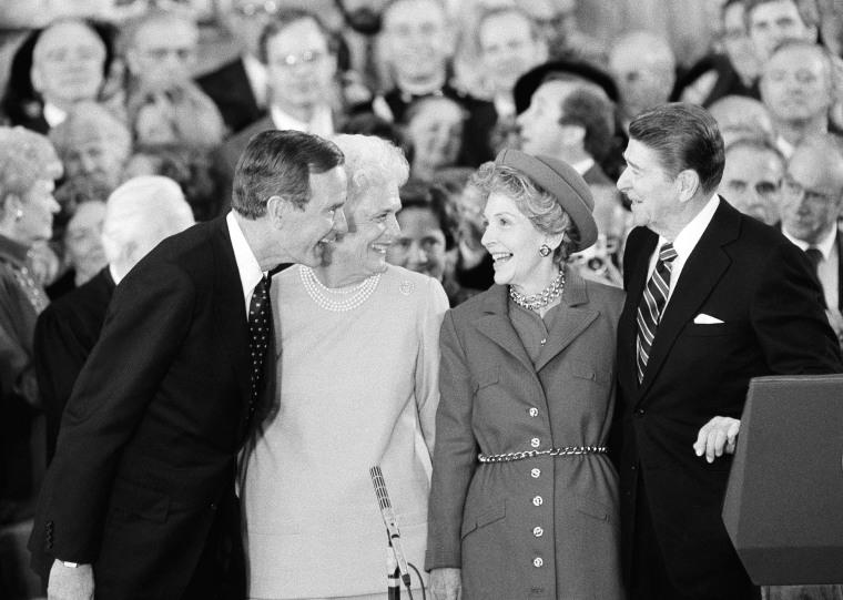 Image: Ronald  Reagan, Nancy Reagan, George H,W, Bush, Barbara Bush