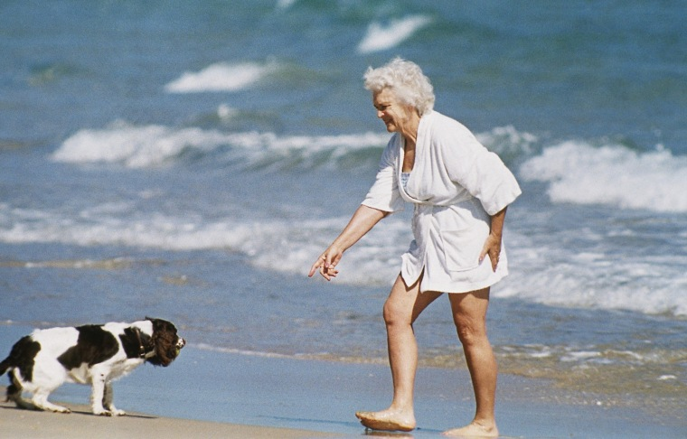Image: Barbara Bush with Millie the dog