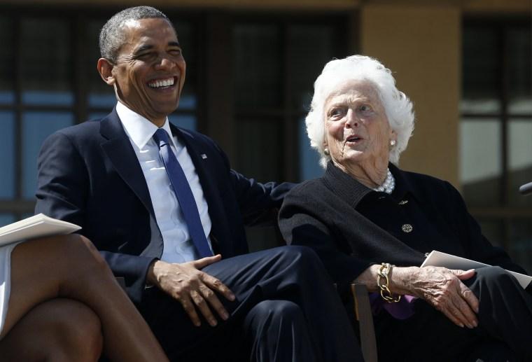 Image: Barack Obama, Barbara Bush