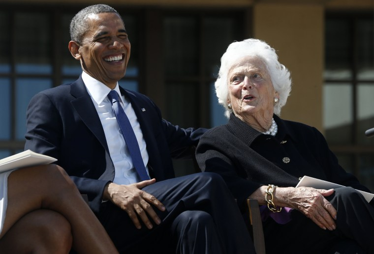 Image: Barack Obama, Barbara Bush