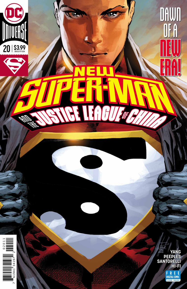 """Image: The cover from an issue of """"New Super-Man and the Justice League of China."""""""