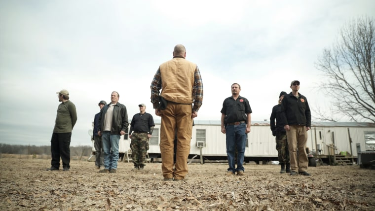 Members of the ShieldWall Network train at Scott and Tamera Goodwins' yard in Arkansas.