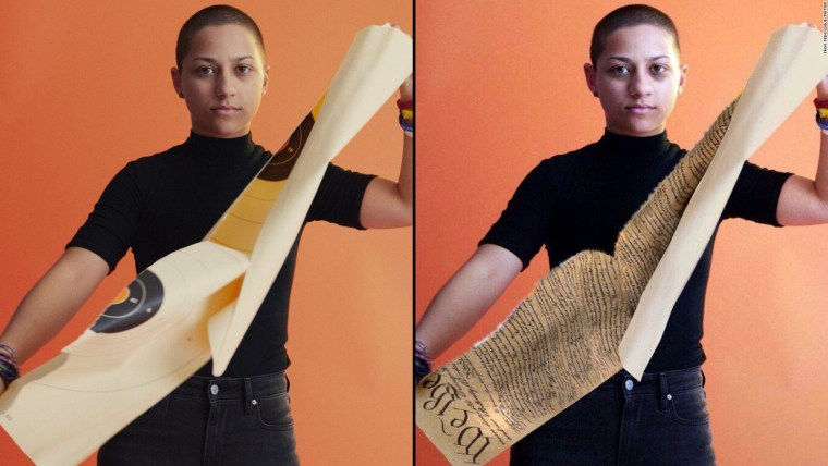 Parkland shooting survivor Emma Gonzalez is pictured ripping up a shooting range target, left. At right, a doctored photo circulated the Internet, depicting Gonzalez tearing apart the U.S. Constitution.