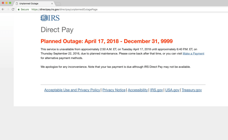 Image: IRS site outage
