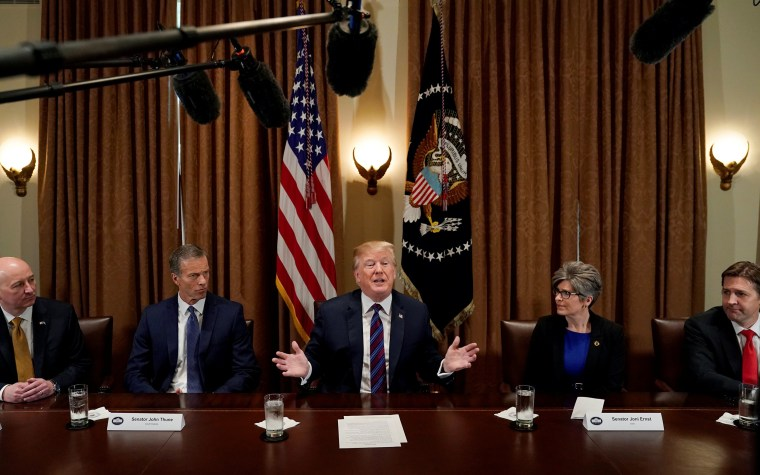 Image: President Donald Trump speaks during a meeting with governors and members of Congress on agriculture