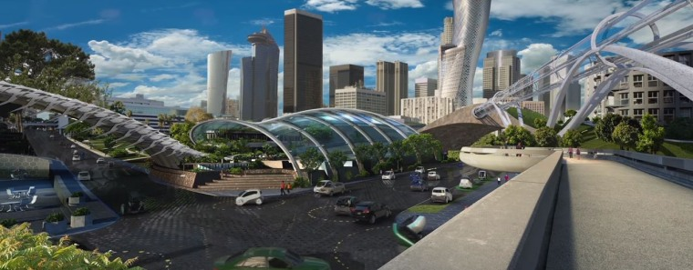 "Ford's ""City of Tomorrow"" concept features autonomous vehicles and increased public transportation."