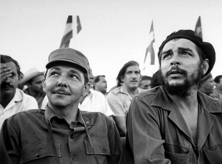 """Raul Castro and Argentina-born revolutionary Ernesto \""""Che\"""" Guevara pictured during a July 26 celebration commemorating the revolution."""