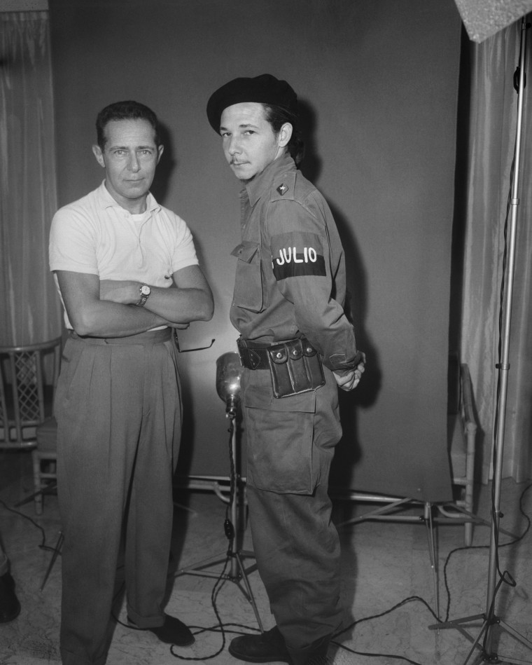 Raul Castro and photographer Lester Cole in Havana, Jan. 1959.