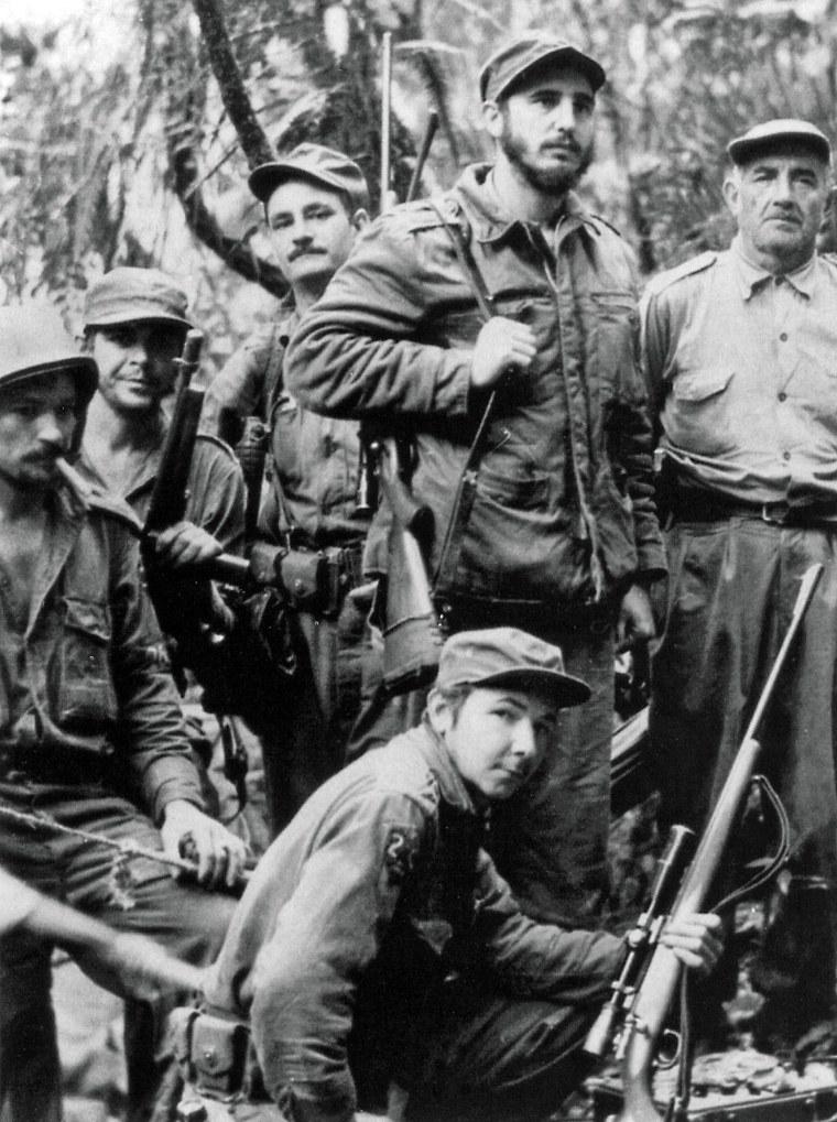 Fidel Castro, his brother Raul Castro, Che Guevara and other members of the guerrilla unit during the guerrilla war against Cuban dictator Fulgencio Batista, 1857.