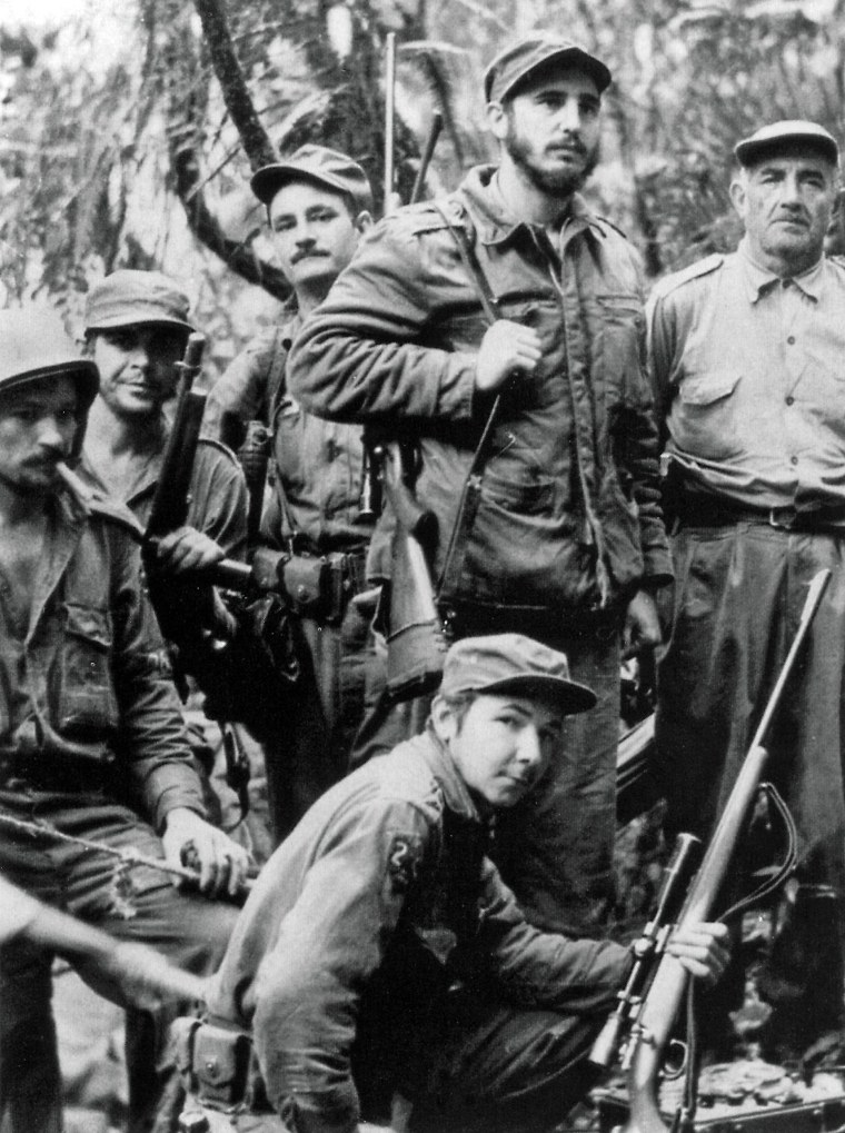 Fidel Castro, his brother Raul Castro, Che Guevara and other members of the guerrilla unit during the guerrilla war against Cuban dictator Fulgencio Batista, 1857.