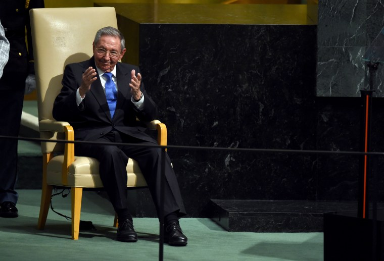 Cuban President Raul Castro reacts after addressing the 70th Session of the UN General Assembly in New York on Sept. 28, 2015.