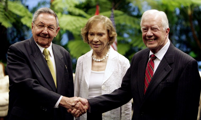 Raul Castro, former President Jimmy Carter and his wife Rosalynn pose for a photo at Revolution Palace in Havana, March 29, 2011. Carter and his wife Rosalynn stayed on the island for three days. He also visited Cuba in 2002, and, before Barack Obama, was the only former U.S. president to do so since the 1959 revolution.