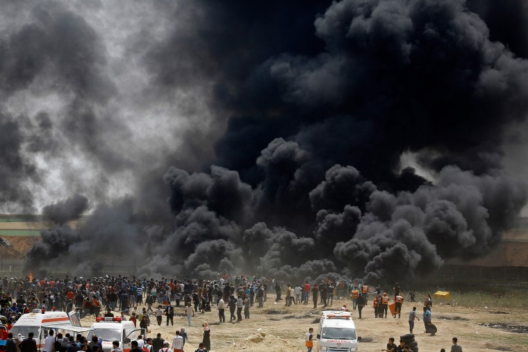 Image: TOPSHOT-PALESTINIAN-GAZA-ISRAEL-CONFLICT-PROTEST
