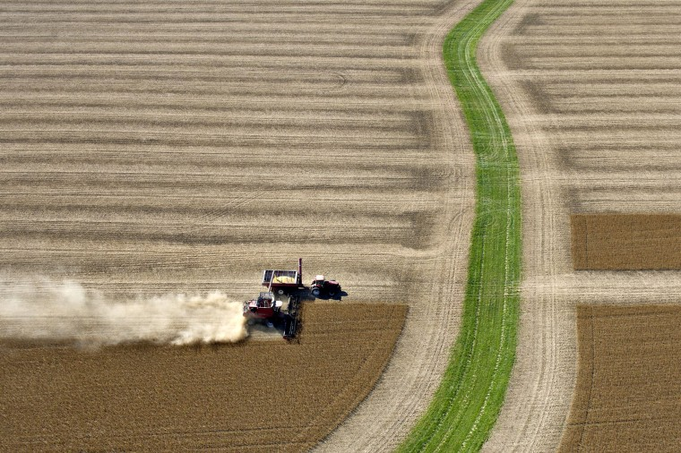 Image: Soybeans are harvested on a farm near Peru, Illinois