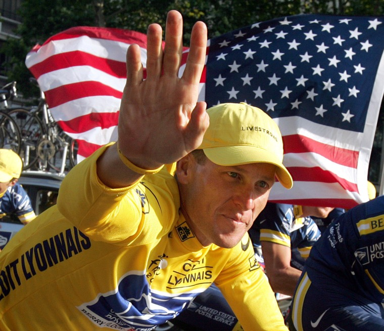 Image: Lance Armstrong during the Tour de France in Paris.
