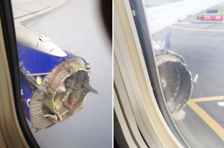 The damaged engine of a Southwest Airlines plane diverted to Pensacola, Florida, in 2016, left, and the damaged engine of a Southwest plane diverted to Philadelphia on Tuesday.